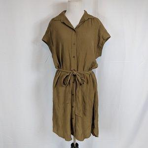 H&M Olive Green Buttondown Shirt dress